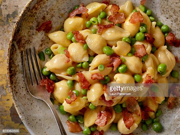 Creamy Shells and Cheese Carbonara with Peas