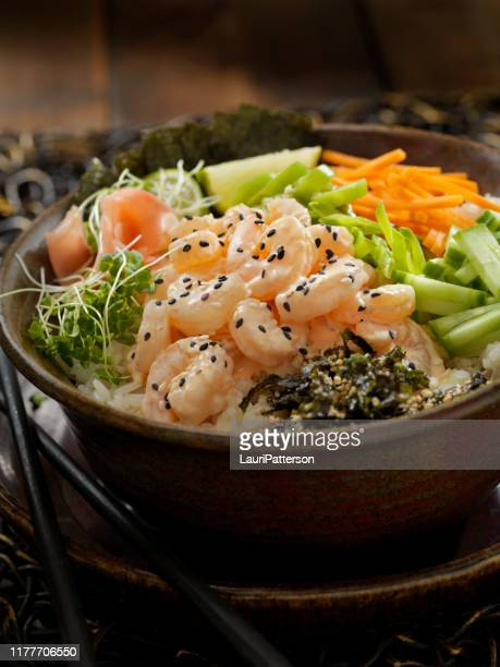 creamy shrimp buddha bowl - pickled ginger stock pictures, royalty-free photos & images