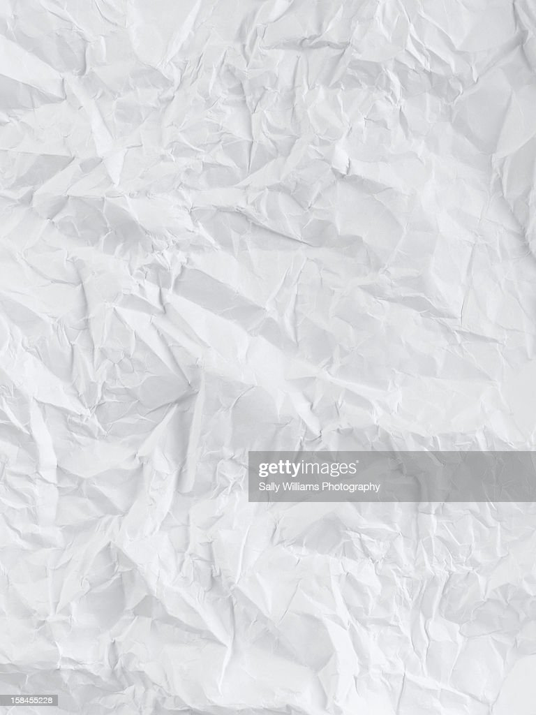 Creased white sheet of paper : Stock Photo