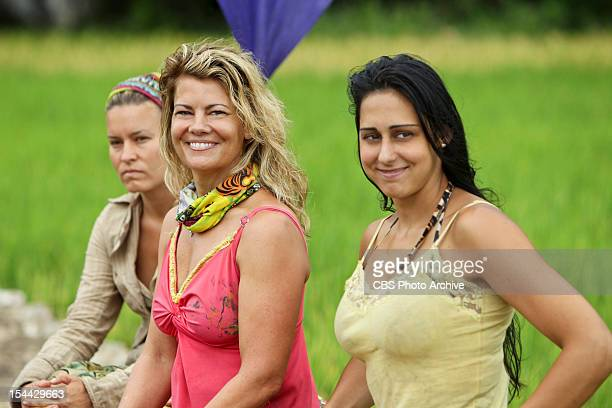 """""""Create a Little Chaos"""" - Abi-Maria Gomes, Lisa Whelchel and Roberta """"RC"""" Saint-Amour of the Tandang Tribe during the Immunity Challenge on the..."""