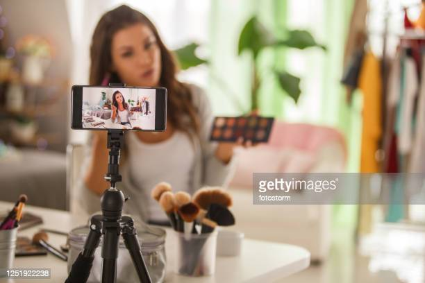 creating a fresh new content for your video blog about beauty and make-up - live event stock pictures, royalty-free photos & images
