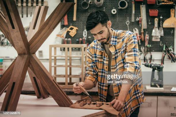creating new furniture in workshop - design professional stock pictures, royalty-free photos & images