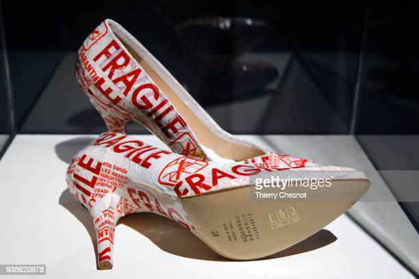 A creation by Belgian designer Martin Margiela is displayed during the exhibition Margiela Les Annees Hermes at Musee Des Arts Decoratifs on March 21...