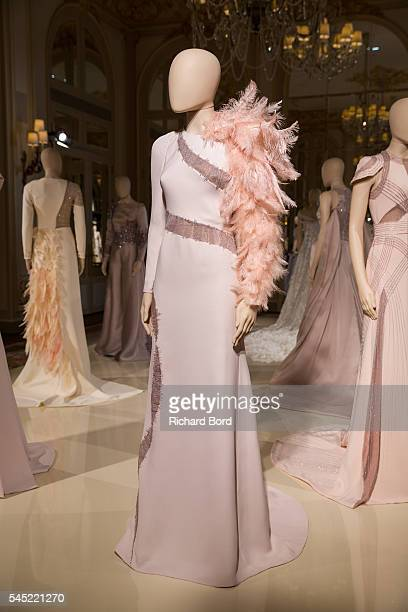 A creation is displayed during the Antonio Grimaldi Haute Couture Fall/Winter 20162017 presentation at Hotel Ritz as part of Paris Fashion Week on...