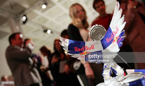 A creation of an angel is seen at the Red Bull Art Of Can private view and awards at the The Old Truman Brewery on April 4 2005 in London England...