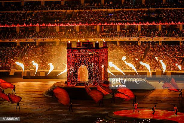 Creation of the legendary giant Simurg with fire effects engulfing the stadium during the Closing Ceremony of the inaugural European Games at at...