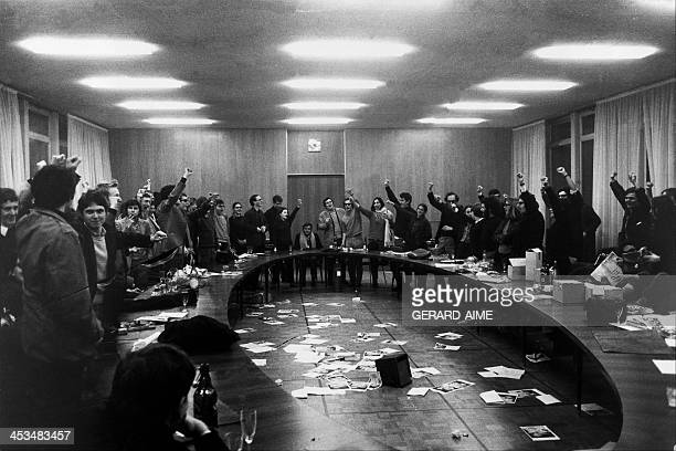 Creation of the movement of 22 March with Daniel CohnBendit at Nanterre university in Nanterre France on March 22 1968