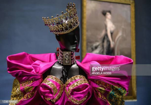 Creations by French fashion designer Christian Dior are on display at the Christian Dior: Designer of Dreams exhibition at the Brooklyn Museum in New...