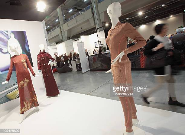 Creations by Italian designer Veronica Panati are displayed during the Mi Milano PretAPorter Fashion Trade Show on February 25 2011 in Milan Italy