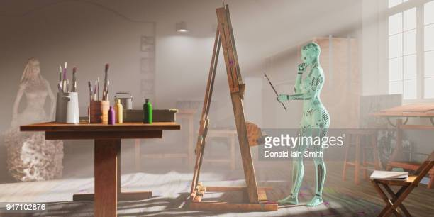 Creative AI: female robot painting in art studio