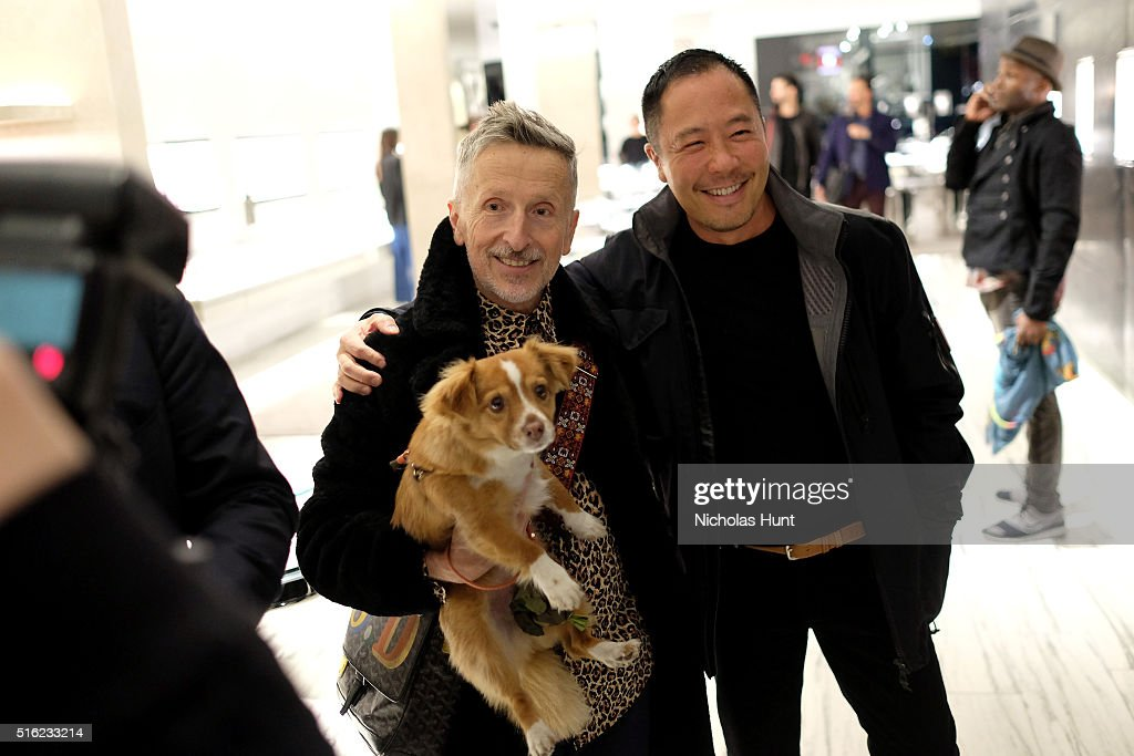 Creative Ambassador-at-Large of Barneys New York Simon Doonan (L) and designer Derek Lam attend as Barneys New York celebrates its new downtown flagship in New York City on March 17, 2016 in New York City.