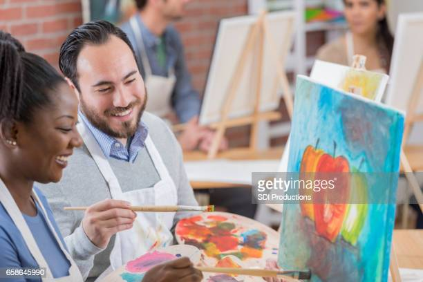 Creative artists enjoy painting together