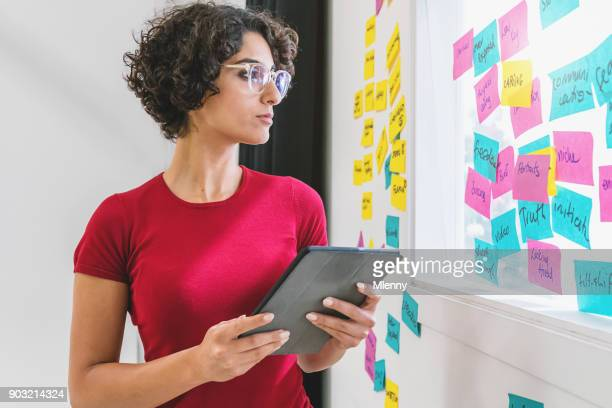 Creative Brainstorming Woman Checking Sticky Notes Concepts