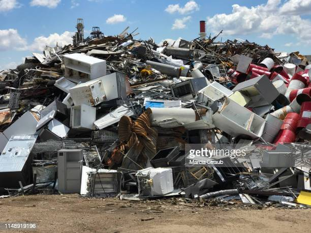 creative brief - renewables and recyclables metal - garbage dump stock pictures, royalty-free photos & images