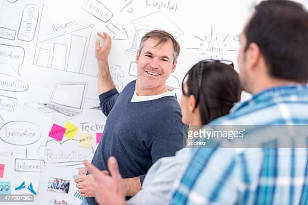 Creative business man working with his team