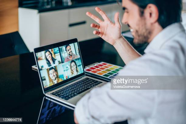 creative business team in video conference. - video still stock pictures, royalty-free photos & images