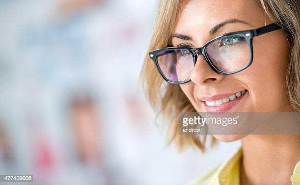 creative business woman at the office - eyesight fotografías e imágenes de stock
