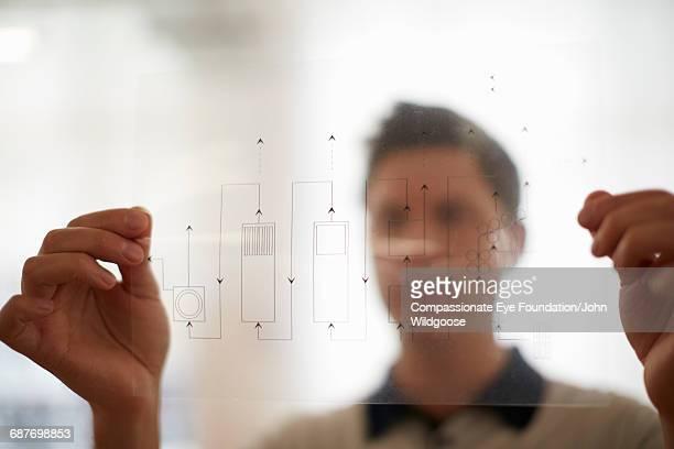 Creative businessman holding diagram