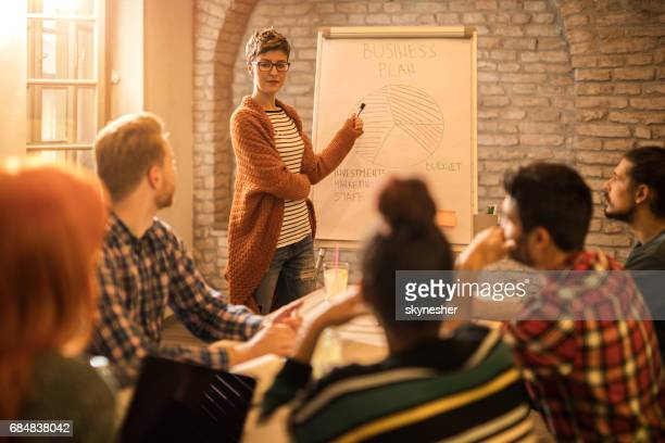 Creative businesswoman presenting her colleagues new business strategy on a meeting.