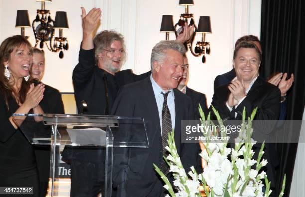 Creative Coalition CEA Robin Bronk and actor Garrett Wareing director Francois Girard actors Dustin Hoffman and Eddie Izzard attend The Creative...