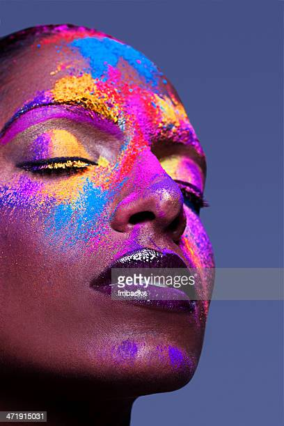 creative colourful powder dark beauty - nude hindu women stock photos and pictures