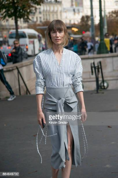 Creative Consultant Anya Ziourova wears a Jason Wu shirt skirt and shoes day 5 of Paris Womens Fashion Week Spring/Summer 2018 on September 30 2017...