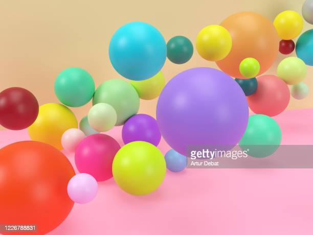 creative digital picture of colorful balls levitating in studio set. - girly wallpapers stock pictures, royalty-free photos & images