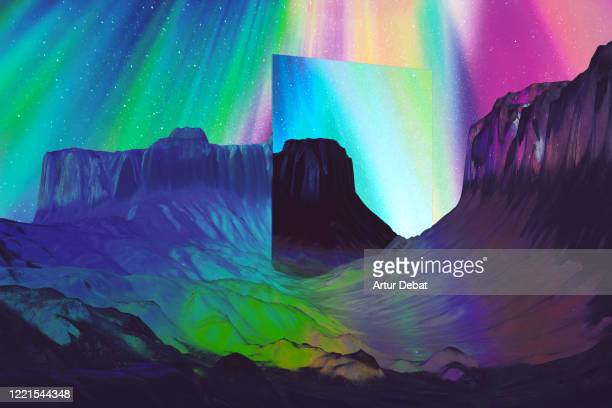 creative digital picture of stunning mirror reflecting beautiful ice landscape with aurora borealis colors. - 宇宙・天文 ストックフォトと画像