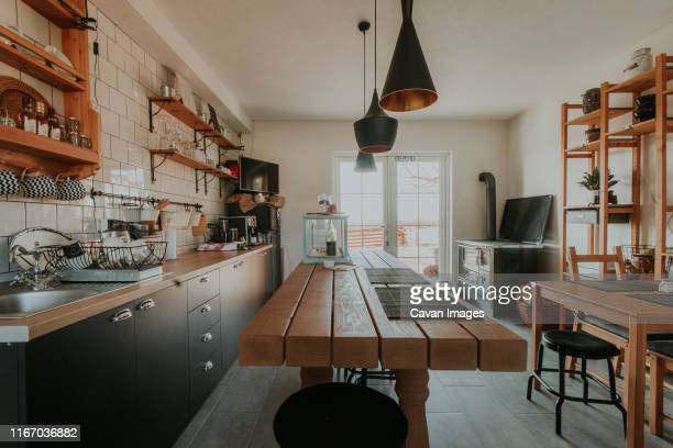 creative dining room and kitchen in a small house. - tradition fotografías e imágenes de stock