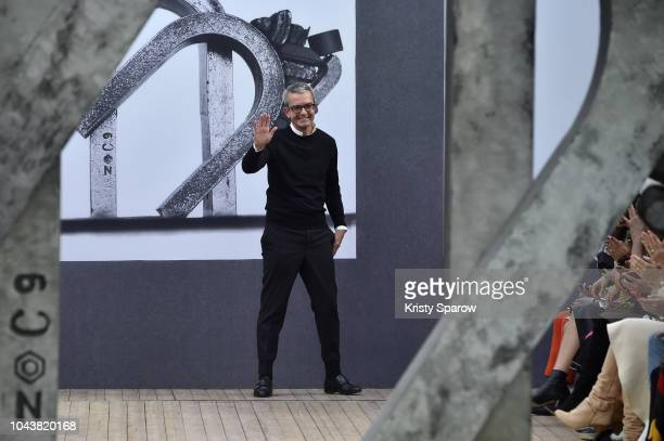 Creative Director Albert Kriemler acknowledges the audience during the Akris show as part of Paris Fashion Week Womenswear Spring/Summer 2019 on...