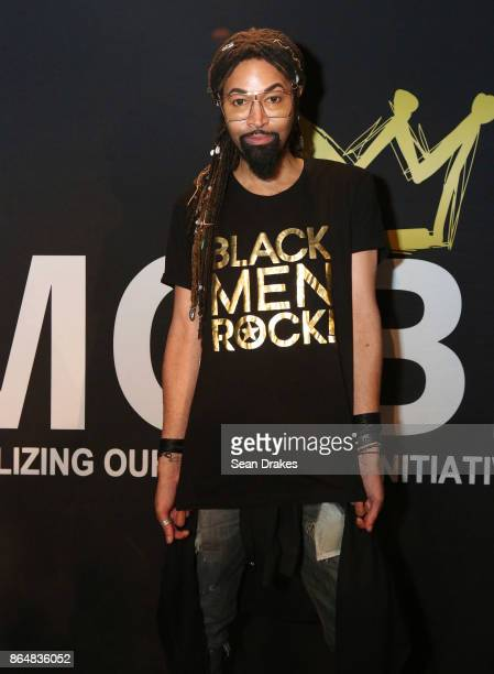 Creative director and Beyonce's fashion stylist Ty Hunter poses wearing a Black Men Rock Tshirt during MOBI Talks a life mentoring conference series...