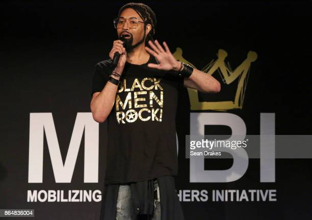 Creative director and Beyonce's fashion stylist Ty Hunter speaks during MOBI Talks a life mentoring conference series at the National Black Theater...
