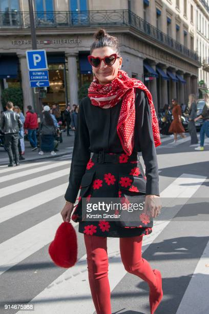 Creative Director and Fashion Editor Giovanna Battaglia Engelbert wears Yves Saint Laurent sunglasses Hermes scarf Frame shirt Simone Rocha skirt...