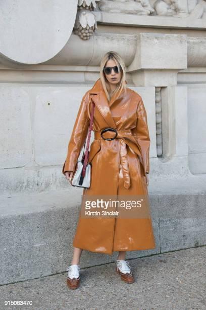 Creative Director and Founder of Beyond The Mag Sophia Macks wears an Ellery coat Marni bag Louis Vuitton shoes and Dita sunglasses day 5 of Paris...