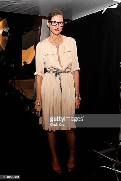 Creative Director and President of J Crew Jenna Lyons poses backstage at the JCrew Spring 2012 fashion show during MercedesBenz Fashion Week at The...