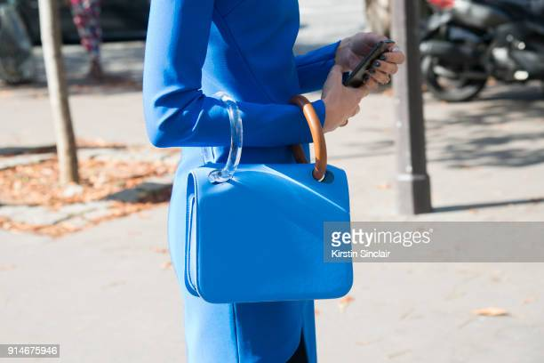 Creative director and stylist Samantha Angelo wears a Mugler dress and a Roksanda Ilincic bag day 5 of Paris Womens Fashion Week Spring/Summer 2018...