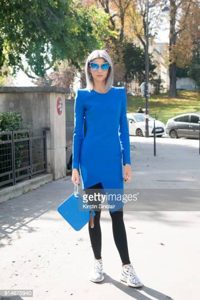 Creative director and stylist Samantha Angelo wears a Mugler dress Adidas trainers Dita sunglasses and a Roksanda Ilincic bag day 5 of Paris Womens...