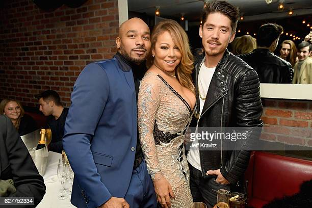 Creative director Anthony Burrell recording artist Mariah Carey and choreographer Bryan Tanaka attend MARIAH'S WORLD Viewing Party at Catch on...