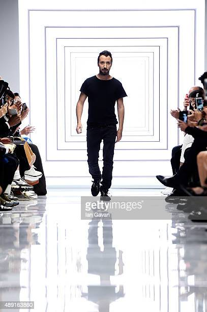 Creative director Anthony Vaccarello appears at on the runway at the Versus show during London Fashion Week Spring/Summer 2016 on September 19 2015...