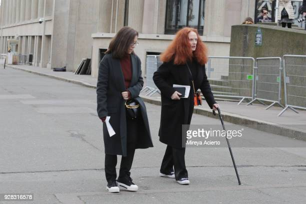 Creative director at Vogue Magazine Grace Coddington seen at the Miu Miu fashion show during Paris Fashion Week Womenswear Fall/Winter 2018/2019 on...