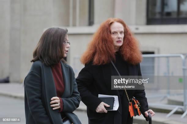 Creative director at Vogue Magazine Grace Coddington seen at the Miu Miu fashion show during Paris Fashion Week Womenswear Fall/Winter 2018/2019 on...