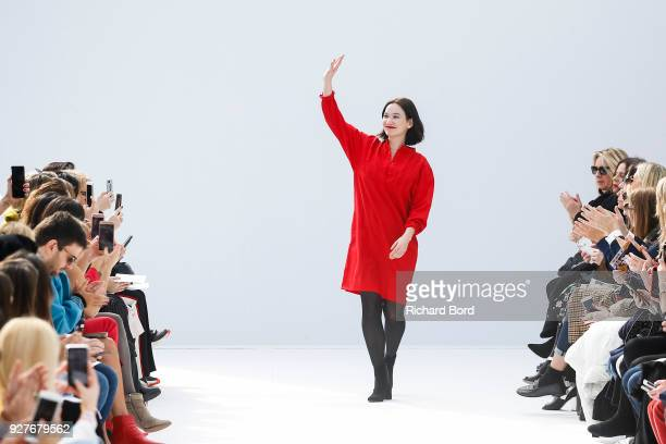 Creative Director Christine Phung acknowledges the audience after the Leonard Paris show as part of the Paris Fashion Week Womenswear Fall/Winter...