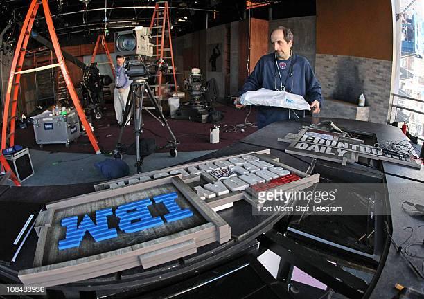 Creative Director David Saphirstein right stands near the logos for the ESPN Sunday NFL Countdown which were waiting to be installed at the ESPN...