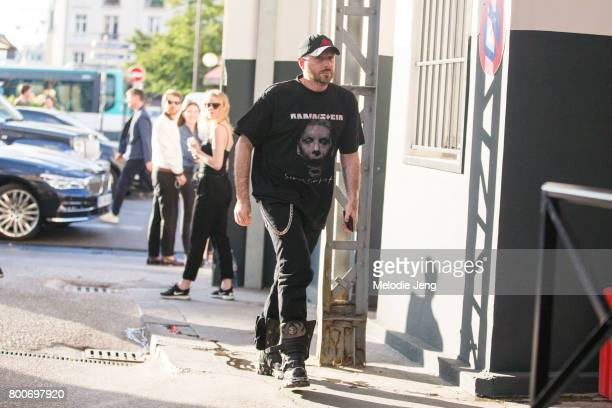 """Creative Director Demna Gvasalia outside the Vetements SS18 """"NO SHOW"""" event on June 24, 2017 in Paris, France."""