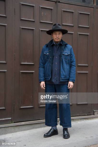 Creative director Eshan Kali wears Ted Baker shoes Agy and Sam jeans RM Williams shirt Levi's jacket and scarf and a Laird and Co hat day 3 of London...