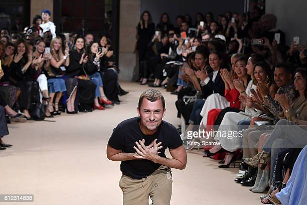 Creative Director Esteban Cortazar acknowledges the audience during the Esteban Cortazar show as part of Paris Fashion Week Womenswear Spring/Summer...
