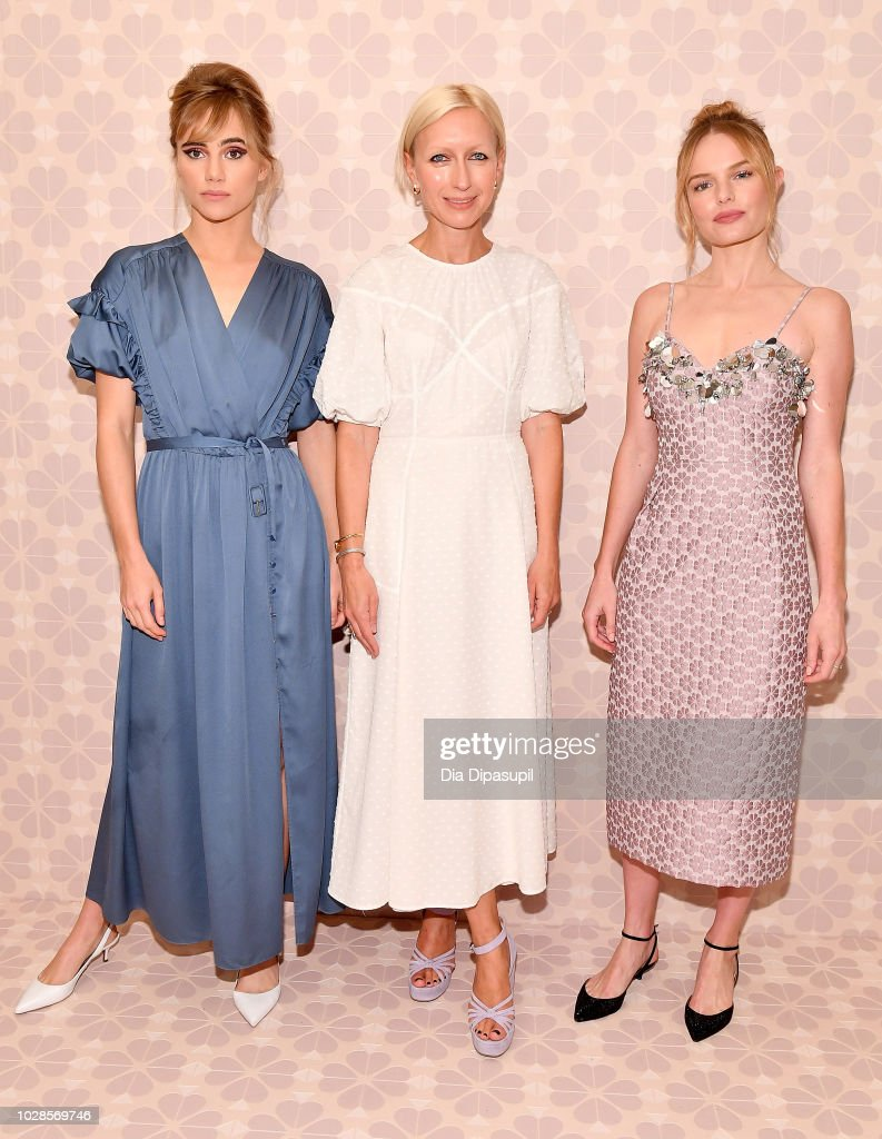 Creative Director for Kate Spade, Nicola Galss (C) poses with actors Suki Waterhouse (L) and Kate Bosworth at the Kate Spade New York Fashion Show during New York Fashion Week at New York Public Library on September 7, 2018 in New York City.