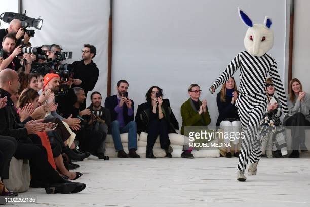 Creative director Francesco Risso acknowledges applause following the presentation of Marni's Women Fall Winter 2020 fashion collection on February...