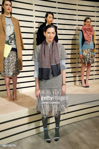 Creative director Jenna Lyons poses at JCrew presentation during MercedesBenz Fashion Week Fall 2014 at The Pavilion at Lincoln Center on February 11...