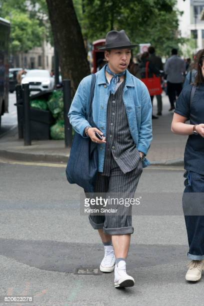 Creative director John Jarrett wears I and me shirt and shorys Converse trainers Levi's scarf Kings of Indigo denim jacket Laird and Co hat on day 3...